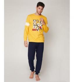 Pijama Mickey Poses mostaza, azul