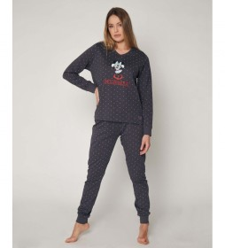 Pijama Minnie Shy gris