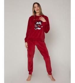 Pijama Velour Love M&M burdeos