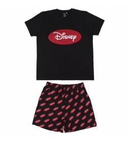 Pijama Corto Single Jersey Disney negro, rojo