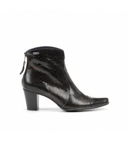 Botines de piel D6034 negro -Altura tacón: 6 cm-
