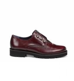 Zapatos de piel D7916 burdeos