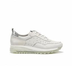Zapatillas de piel D8201NBSLA blanco, plata