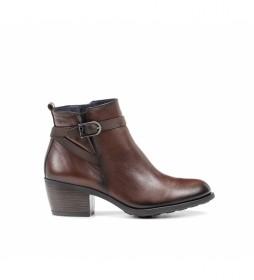 Botines de piel D8331 marrón -Altura tacón: 5,5 cm-