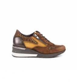 Zapatillas de piel D8590ISCI2 marrón - Altura cuña 5cm -