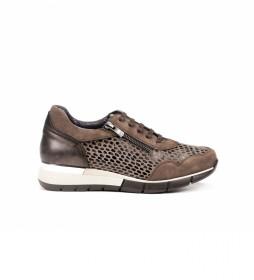 Zapatillas de piel D8678ISXAC marrón