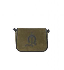 Bolso bandolera de piel Serraje verde -16x22x7cm-