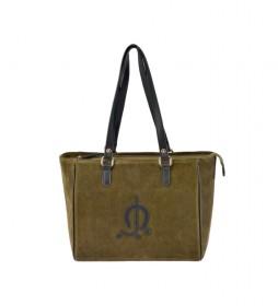 Bolso shopping de piel Serraje verde -36x25x12cm-