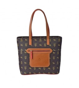 Bolso shopping de piel Lona marrón -30x30x14cm-