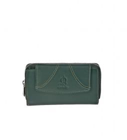 Monedero de piel Sedamar verde -16x9x3cm-