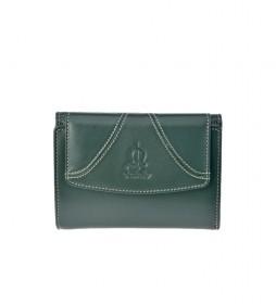 Monedero pequeño de piel Sedamar verde -13x10x3cm-