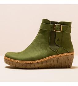 Botines de piel N5133 Yggdrasil verde -Altura de tacón 5,7 cm-