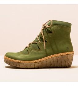Botines de piel N5146 Yggdrasil verde -Altura cuña 5,7cm-