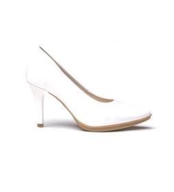 Zapatos de piel 1499 blanco -Altura tacón: 8,5cm-