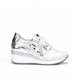 Zapatillas de piel F0429 blanco -Altura cuña: 5 cm-