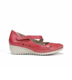 Zapatos de piel Yoda F0500 rojo -Altura cuña: 4 cm-