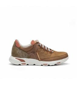 Zapatillas de piel Deltafl F0673 marrón