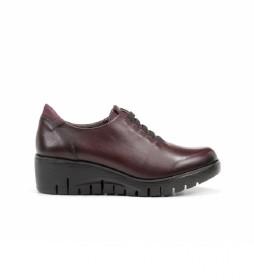 Zapatos de piel Manny F0698 burdeos -Altura cuña: 5 cm-