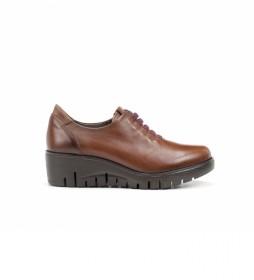 Zapatos de piel Manny F0698 marrón -Altura cuña: 5 cm-