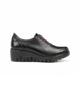 Zapatos de piel Manny F0698 negro -Altura cuña: 5 cm-