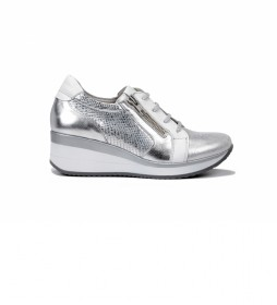 Zapatillas Plus F0722 Bufalino plata -Altura cuña: 6 cm-