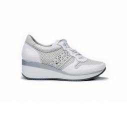 Zapatillas de piel Plus F0723 blanco -Altura cuña: 5 cm-