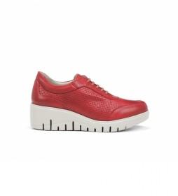 Zapatos de piel F0727 rojo -Altura cuña: 5 cm-
