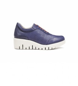 Zapatos de piel Manny F0727 azul -Altura cuña: 5 cm-
