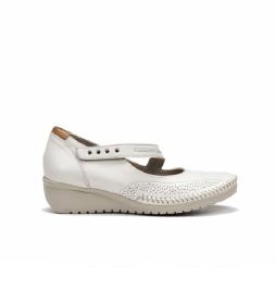 Zapatos de piel F0757 blanco -Altura cuña: 3 cm-