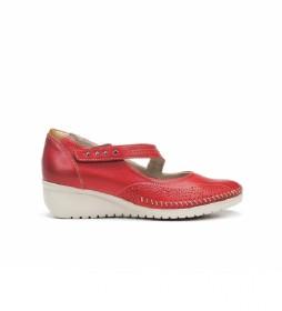 Zapatos de piel F0757 rojo -Altura cuña: 3 cm-