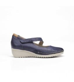 Zapatos de piel F0757 marino -Altura cuña: 3 cm-