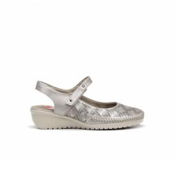 Zapatos de piel F0760 plata -Altura cuña: 4 cm-