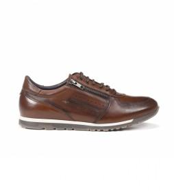 Zapatillas de piel F0928 marrón
