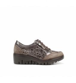 Zapatos de piel Manny F1020 marrón -Altura cuña: 5 cm-