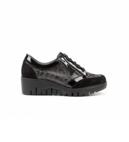 Zapatos de piel Manny F1020 negro -Altura cuña: 5 cm-