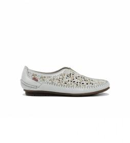 Zapatos de piel F1182 habana blanco