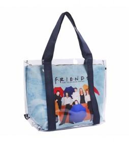 Bolso Asas Transparente Friends azul -45x34x13cm-