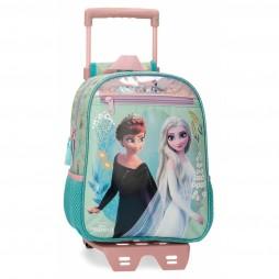 Mochila Preescolar  Frozen Follow Your Dreams con carro turquesa -23x28x10cm-