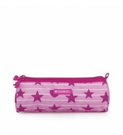 Estuche Triple Shiny rosa -22x7x7cm-