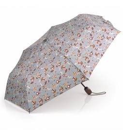 Paraguas plegable gris, naranja -53cm-
