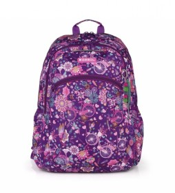 Mochila escolar Abril lila - 34x46x20cm