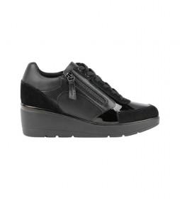 Zapatillas de piel Ilde negro - Altura cuña 6cm -
