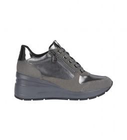 Zapatillas de piel Zosma gris -Altura cuña: 7cm-