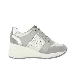 Zapatillas de piel Zosma gris -Altura cuña: 6 cm-