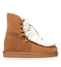 Botas de piel 41442 marrón - Altura cuña 7cm -