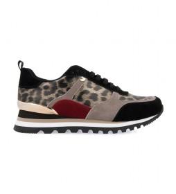 Zapatillas de piel Steinsel leopardo -Altura cuña: 4cm-