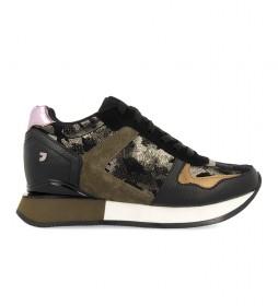 Zapatillas 60431 negro, verde -Altura cuña interior + suela: 5,8cm-