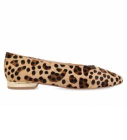 Bailarinas de piel Durham con Print de Leopardo marrón