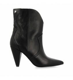 Botines de piel Kurgan negro -Altura tacón: 8,5cm-