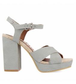 Sandalias de piel Sirinagar gris -Altura tacón: 11,5cm-